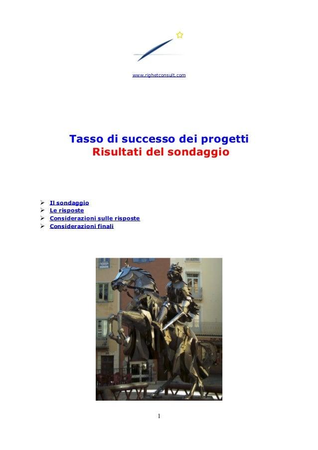 www.righetconsult.com Tasso di successo dei progetti Risultati del sondaggio ➢ Il sondaggio ➢ Le risposte ➢ Considerazioni...