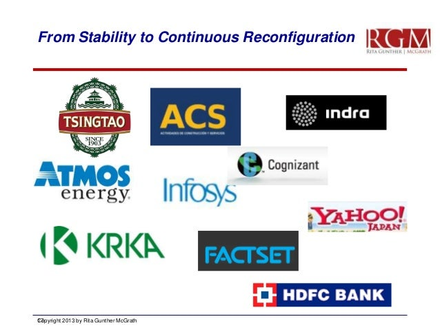 From Stability to Continuous Reconfiguration  Copyright 2013 by Rita Gunther McGrath 17