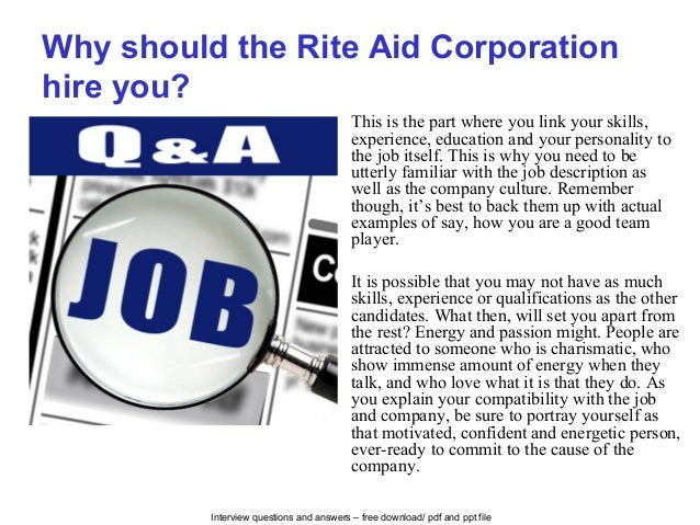 Rite aid corporation interview questions and answers Career Mapping Rite Aid Survey on