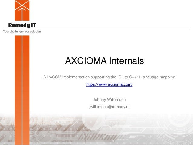 AXCIOMA Internals A LwCCM implementation supporting the IDL to C++11 language mapping https://www.axcioma.com/ Johnny Will...