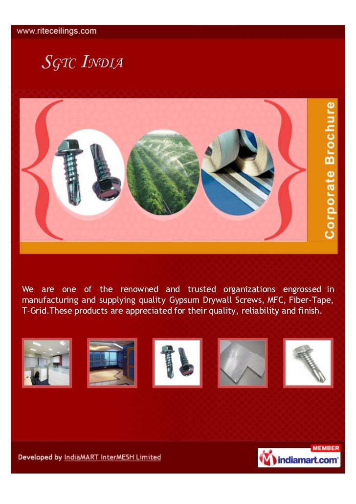 We are one of the renowned and trusted organizations engrossed inmanufacturing and supplying quality Gypsum Drywall Screws...