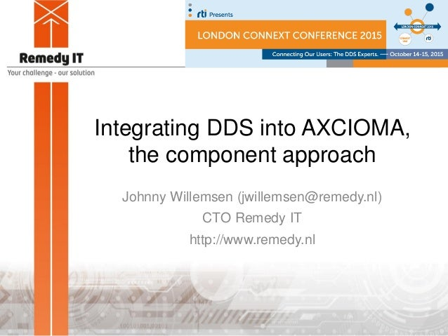 Integrating DDS into AXCIOMA, the component approach Johnny Willemsen (jwillemsen@remedy.nl) CTO Remedy IT http://www.reme...