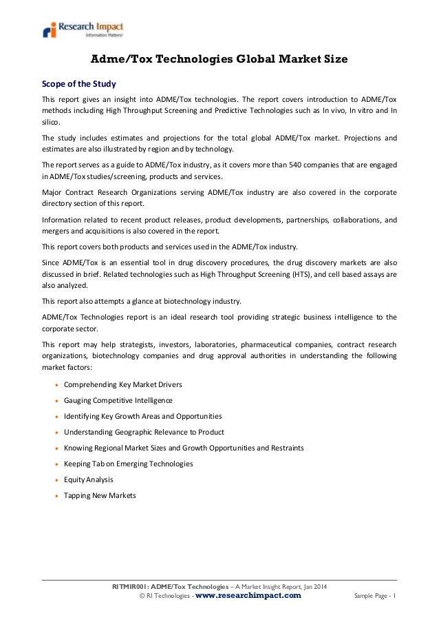 RITMIR001: ADME/Tox Technologies – A Market Insight Report, Jan 2014 © RI Technologies - www.researchimpact.com Sample Pag...