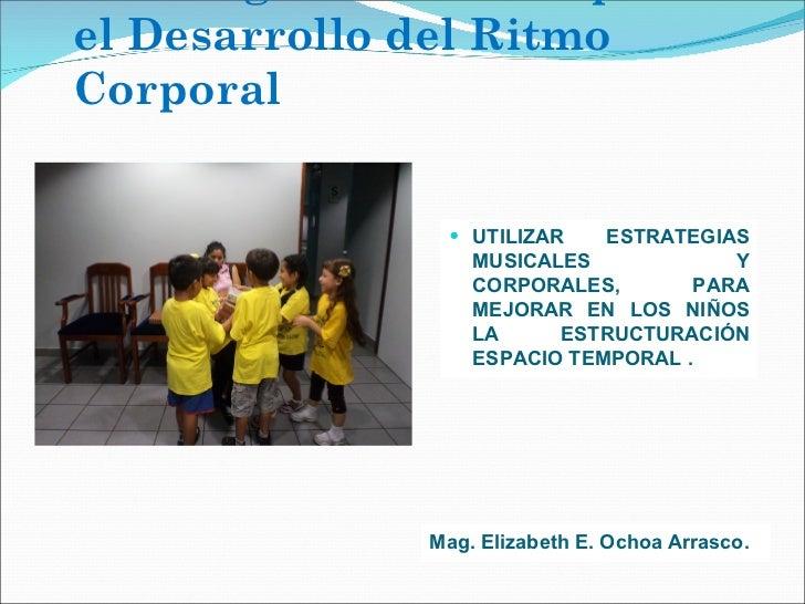 Estrategias musicales para el Desarrollo del Ritmo Corporal <ul><li>UTILIZAR ESTRATEGIAS MUSICALES Y CORPORALES, PARA MEJO...