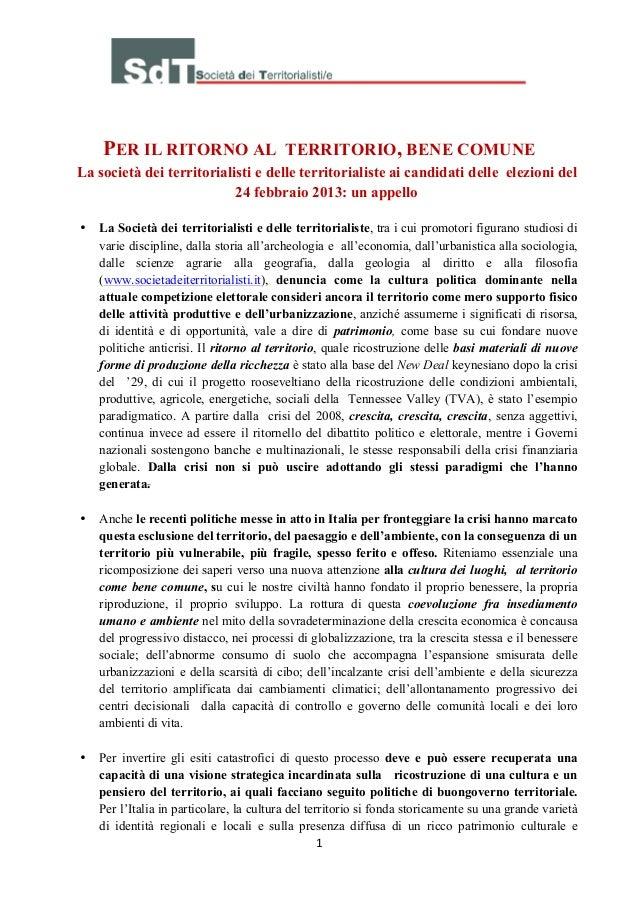 PER IL RITORNO AL                     TERRITORIO, BENE COMUNELa società dei territorialisti e delle territorialiste a...