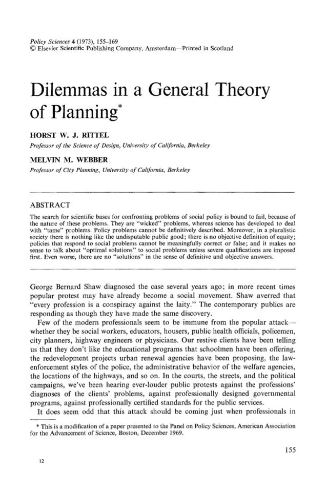 Policy Sciences4 (1973), 155-169 � Elsevier Scientific Publishing Company, Amsterdam--Printed in Scotland Dilemmas in a Ge...