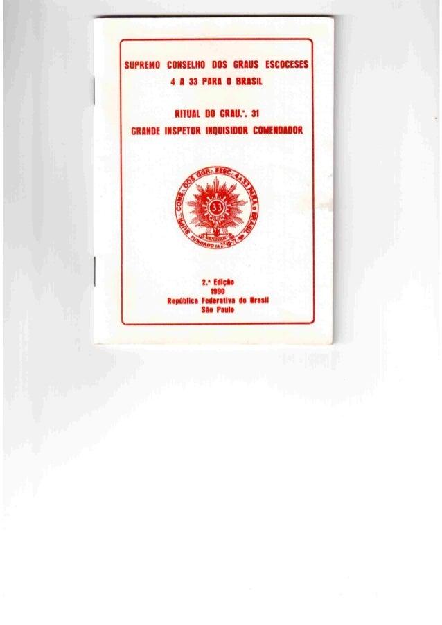 Ritual do grau 31 da maçonaria ( grande inspetor inquisidor comendador)