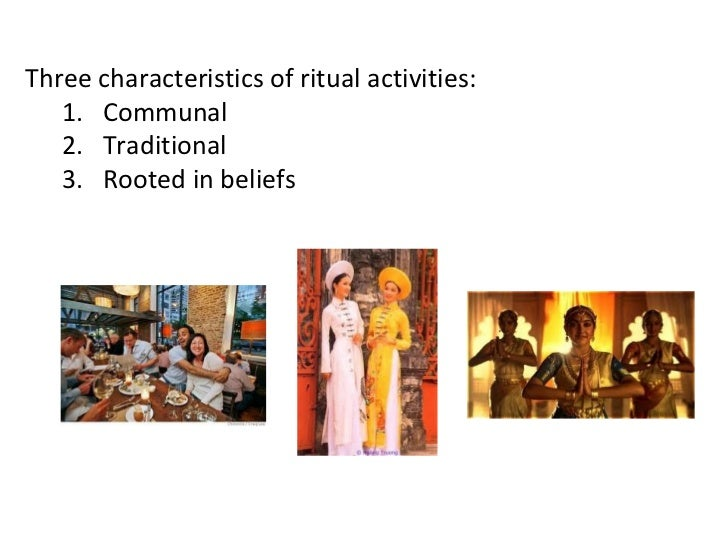 Bell (2008) lists these genres of ritual action:   1. Rites of passage   2. Calendrical rites   3. Rules of exchange and c...