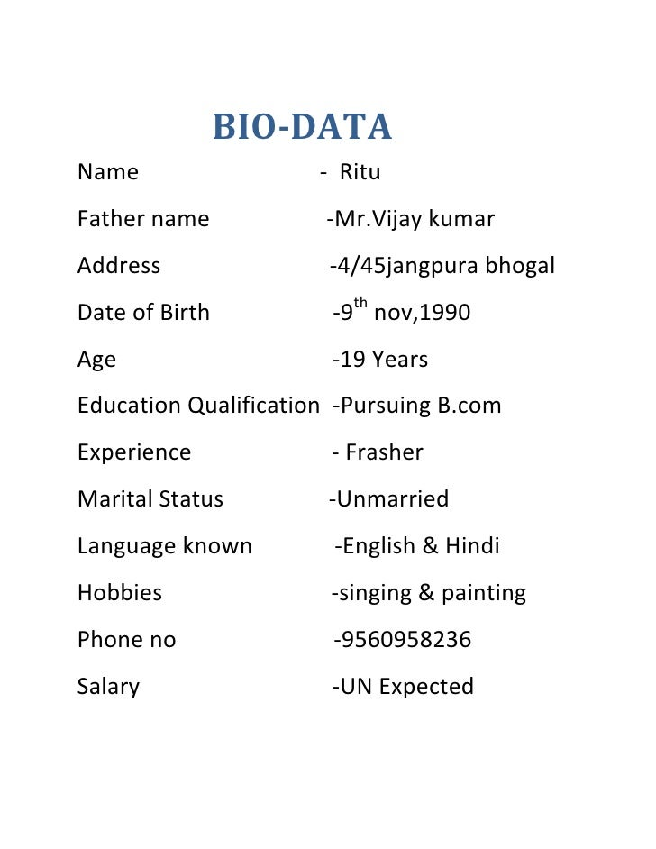 formet of bio data