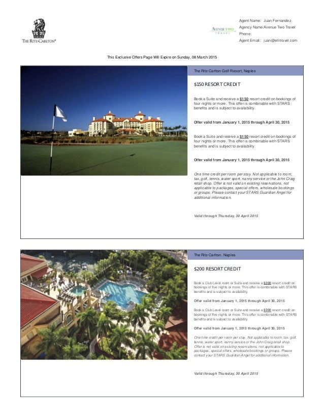 Ritz carlton promotions