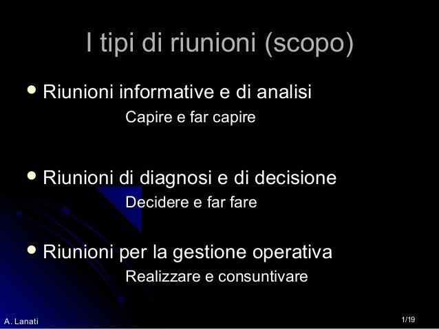 1/19A. Lanati I tipi di riunioni (scopo)I tipi di riunioni (scopo)  Riunioni informative e di analisiRiunioni informative...
