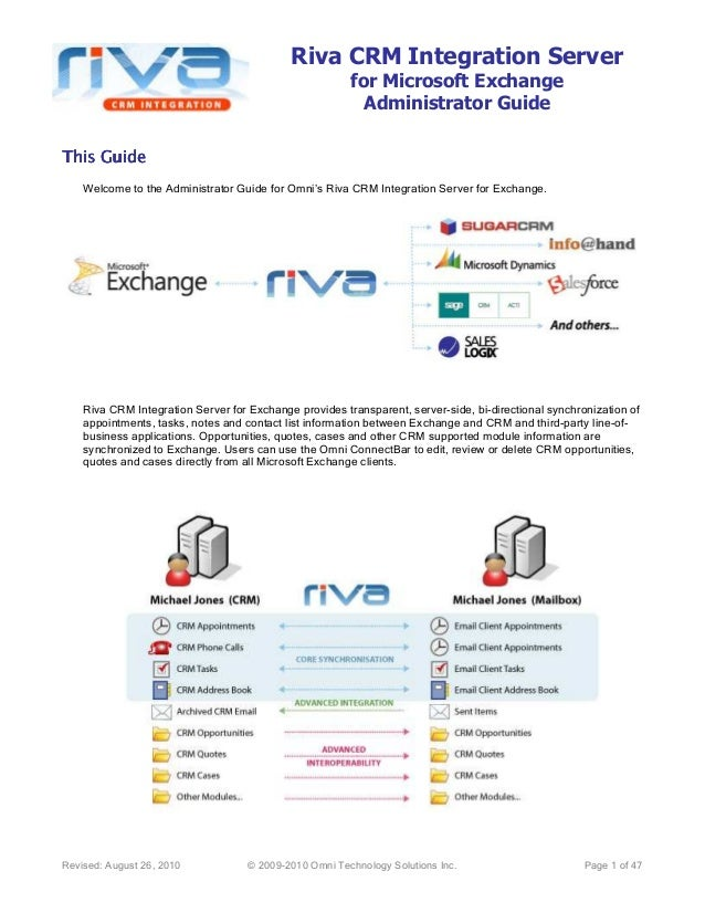 Riva CRM Integration Serverfor Microsoft ExchangeAdministrator GuideRevised: August 26, 2010 © 2009-2010 Omni Technology S...