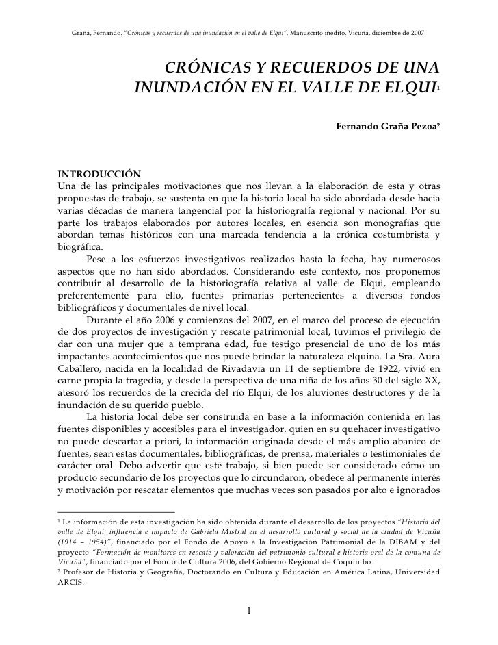 """Graña, Fernando. """"Crónicas y recuerdos de una inundación en el valle de Elqui"""". Manuscrito inédito. Vicuña, diciembre de 2..."""