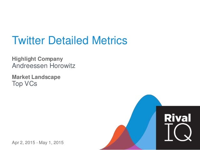 Twitter Detailed Metrics Highlight Company Andreessen Horowitz Apr 2, 2015 - May 1, 2015 Market Landscape Top VCs