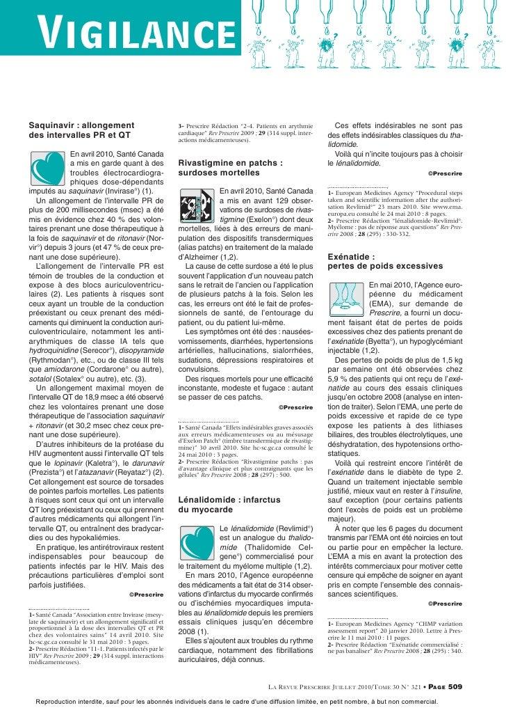 """VigilanceSaquinavir : allongement                                 3- Prescrire Rédaction """"2-4. Patients en arythmie       ..."""