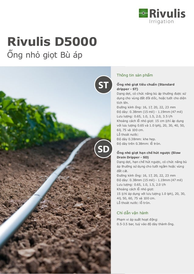Irrigation Rivulis Thông tin sản phẩm Ống nhỏ giọt tiêu chuẩn (Standard dripper - ST) Dạng dẹt, có chức năng bù áp thường ...