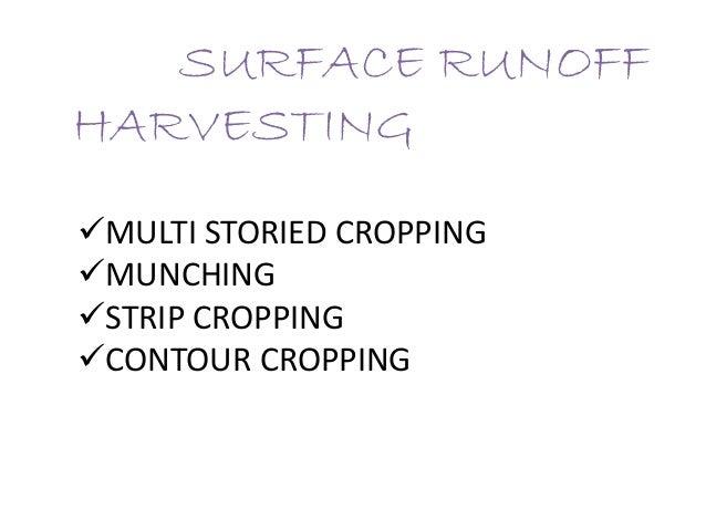 SURFACE RUNOFF HARVESTING MULTI STORIED CROPPING MUNCHING STRIP CROPPING CONTOUR CROPPING