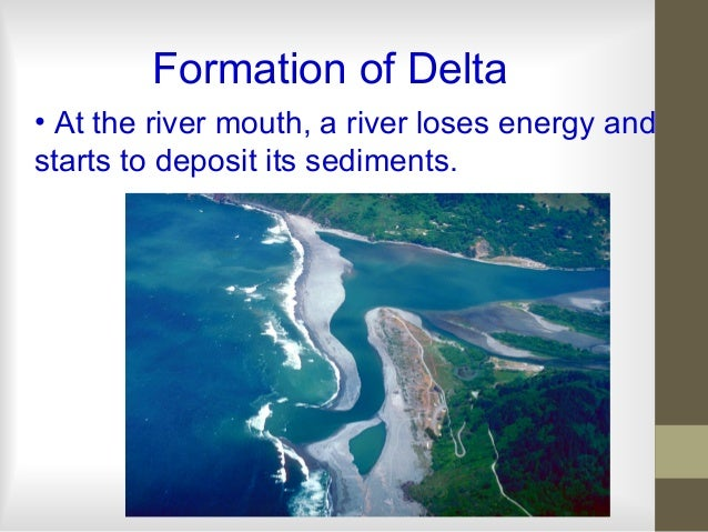 Formation of Delta • At the river mouth, a river loses energy and starts to deposit its sediments.