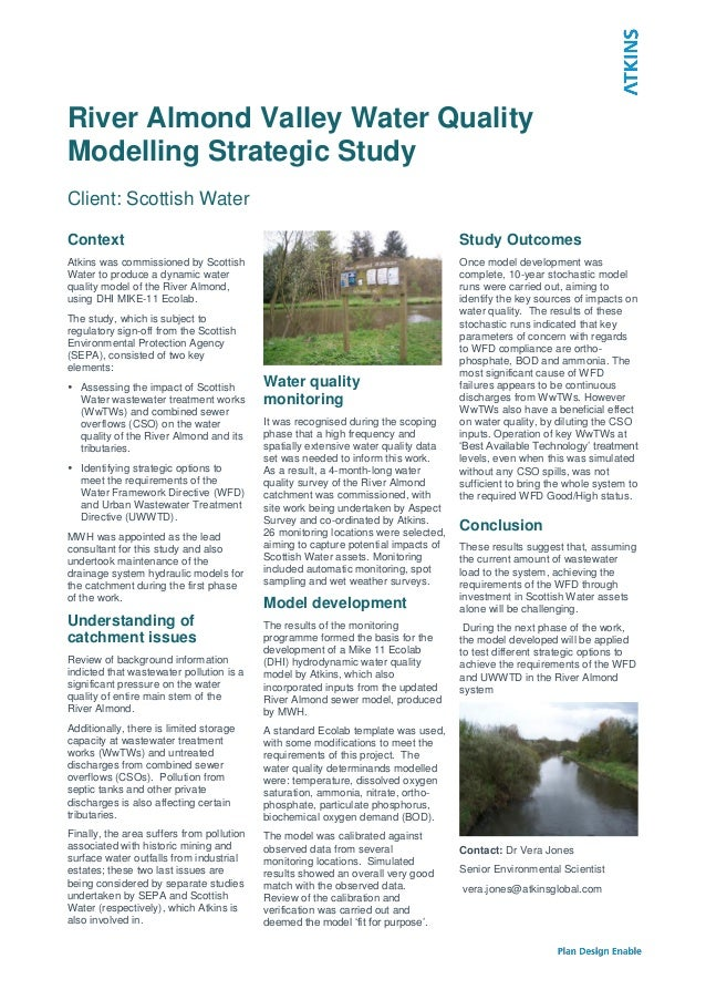 River Almond Valley Water QualityModelling Strategic StudyClient: Scottish WaterContextAtkins was commissioned by Scottish...