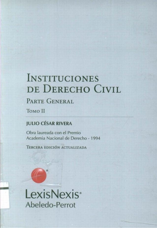 INSTITUCIONES DE DERECHO CIVIL PARTE GENERAL TOMO II