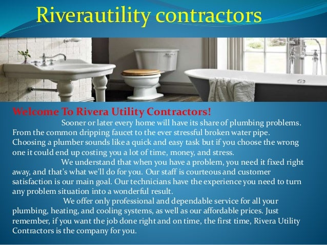 Utilities Contractor, Commercial Plumbing, Water Heater and Faucet Re…