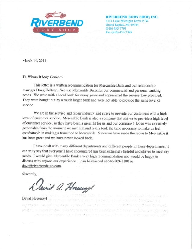 Riverbend Body Letter Of Recommendation