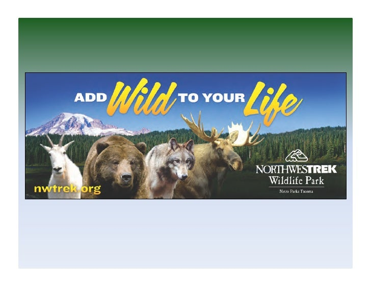 Northwest	  Trek	  Wildlife	  Park	  • Opened	  July	  17th,	  1975	  • Encompasses	  725	  acres	  • Houses	  45	  differe...
