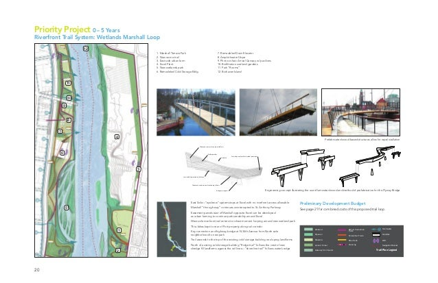 """20 Priority Project 0–5 Years Riverfront Trail System: Wetlands Marshall Loop East Side—""""eyebrow"""" system stops at Excel wi..."""