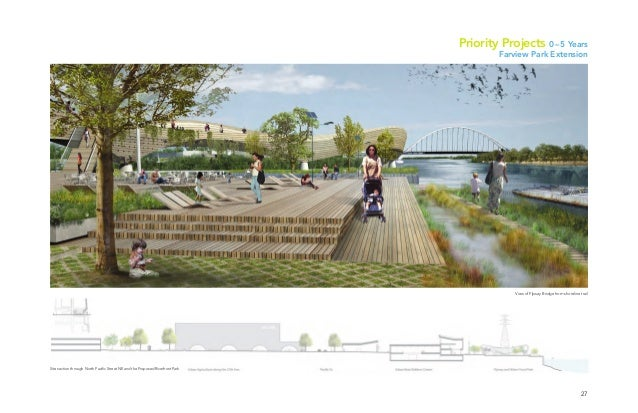 27 View of Flyway Bridge from shoreline trail Priority Projects 0–5 Years Farview Park Extension Site section through Nort...