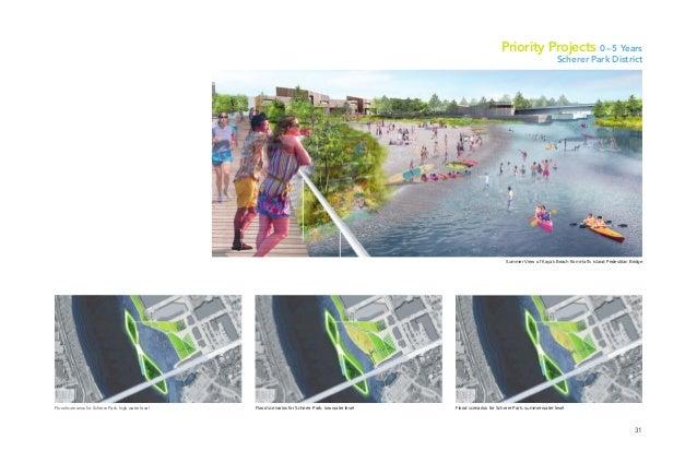 31 Summer View of Kayak Beach from Hall's Island Pedestrian Bridge Flood scenarios for Scherer Park: high water level Floo...
