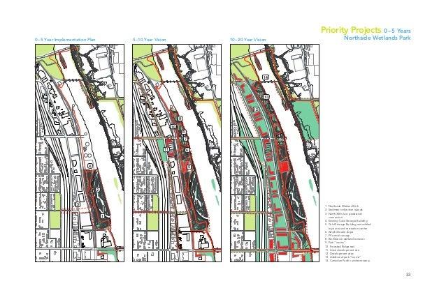 33 2 1 3 4 12 13 14 6 8 9 10 11 7 5 5–10 Year Vision0–5 Year Implementation Plan 1. Northside Wetland Park 2. Sediment col...