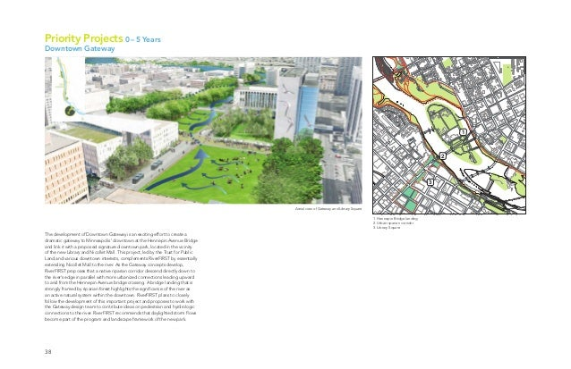 38 Aerial view of Gateway and Library Square 1. Hennepin Bridge landing 2. Urban riparian corridor 3. Library Square 1 2 3...