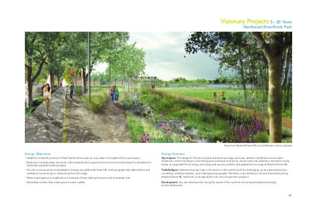 41 View from Marshall Street NE into biofiltration ravine and path Design Objectives • Establish consistent presence of Ea...