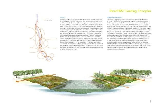 9 RiverFIRST Guiding Principles Phase 1 Loops Phase 2 Connections Loops The North-South Trail System connects with east-we...