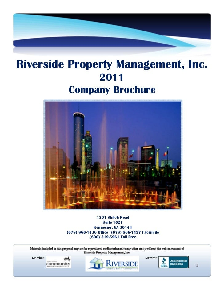 Riverside Property Management, Inc.                 2011            Company Brochure                          1301 Shiloh ...