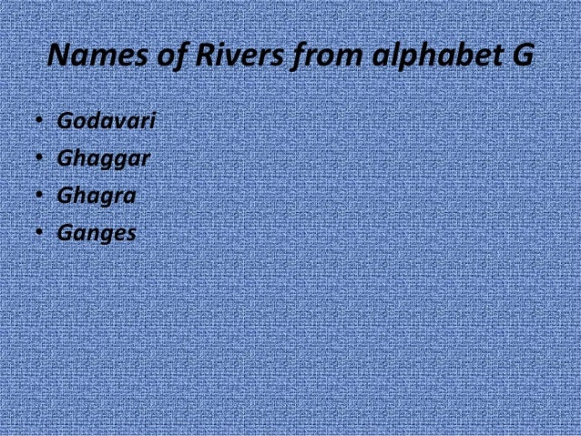 Rivers Of India - Alphabetical list of rivers