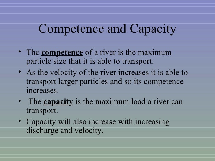 river competence River channel cross-sections: comparing competency and efficiency with shapes of the same surface area.
