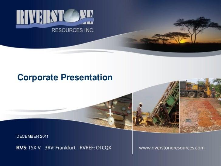 Corporate PresentationDECEMBER 2011