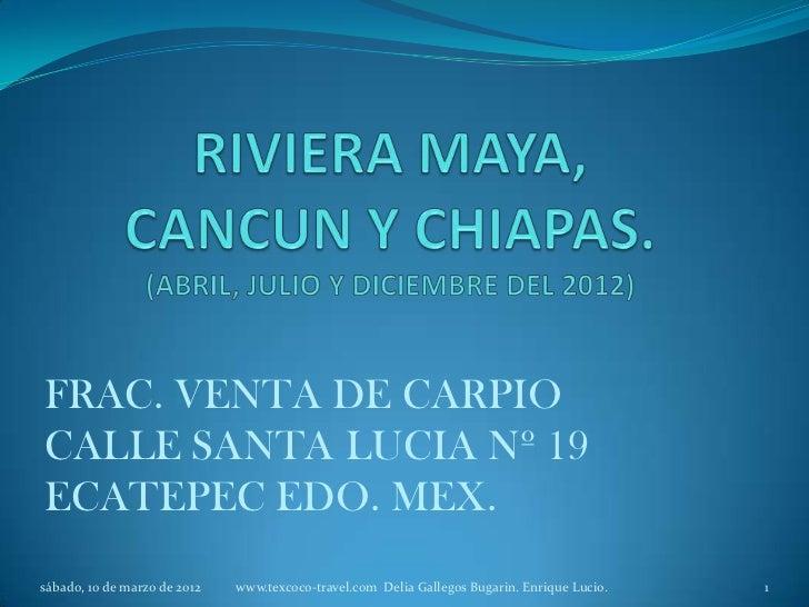 FRAC. VENTA DE CARPIOCALLE SANTA LUCIA Nº 19ECATEPEC EDO. MEX.sábado, 10 de marzo de 2012   www.texcoco-travel.com Delia G...
