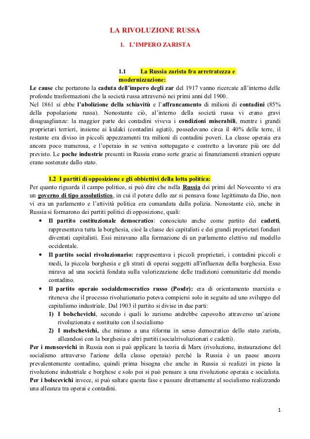 LA RIVOLUZIONE RUSSA                                      1. L'IMPERO ZARISTA                                    1.1      ...