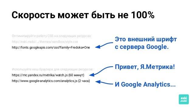 Скорость может быть не 100% Это внешний шрифт с сервера Google. Привет, Я.Метрика! И Google Analytics... Оптимизируйте раб...