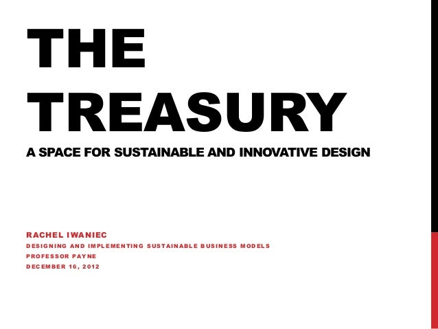 THETREASURYA SPACE FOR SUSTAINABLE AND INNOVATIVE DESIGNR AC HEL I WA NIECDESIGNING AND IMPLEMENTING SUSTAINABLE BUSINESS ...