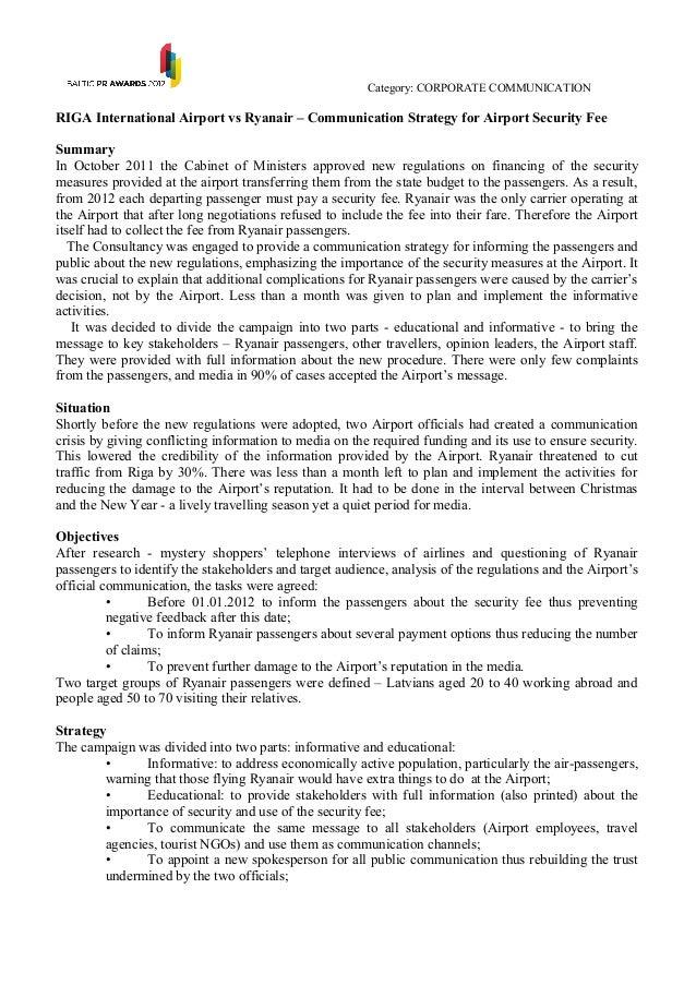 Category: CORPORATE COMMUNICATIONRIGA International Airport vs Ryanair – Communication Strategy for Airport Security FeeSu...