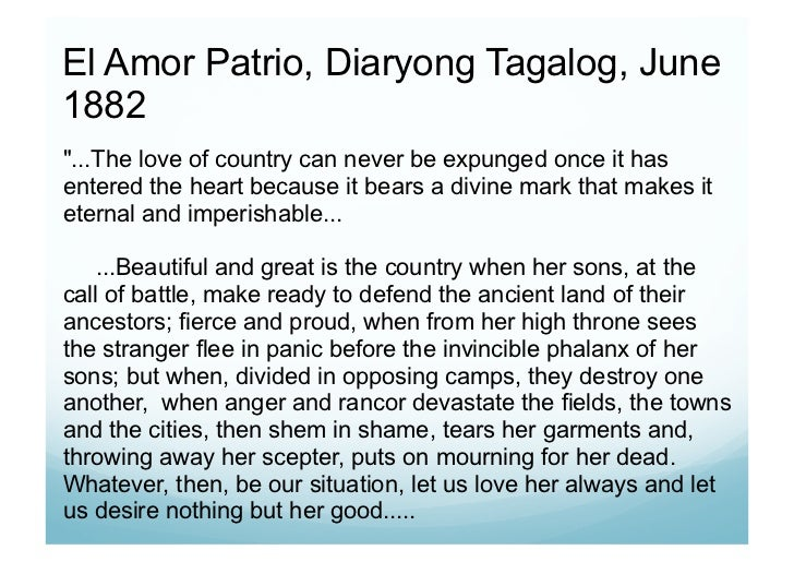 "amor patrio poem of rizal ""el amor patrio"" ( love of country ) 2 while sojourning in barcelona rizal received sad intelligence about the cholera that was harrying manila and the states."