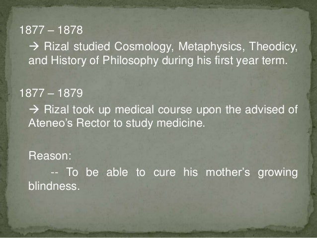 rizal chapter 5 medical studies at Powerpoint in class course rizal, chapter 6 buscar buscar enviar entrar  • rizal completed his medical sourse in  • rizal complete his studies in spain.