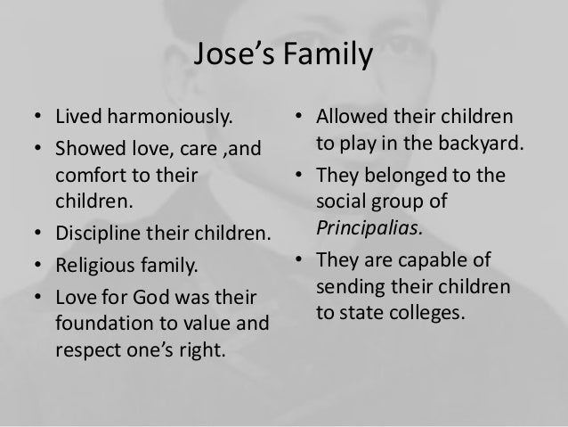 the rizal family Rizal's family was a mixture of races they were a combination of negrito, malay, indonesian, japanese, chinese, and spanish, though jose was predominantly malayan the surname.