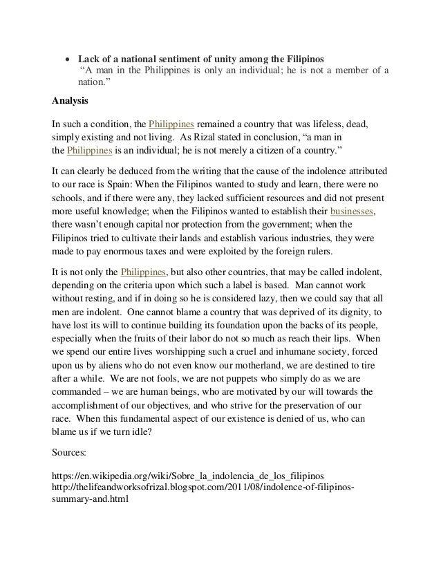 indolence of the filipino tagalog