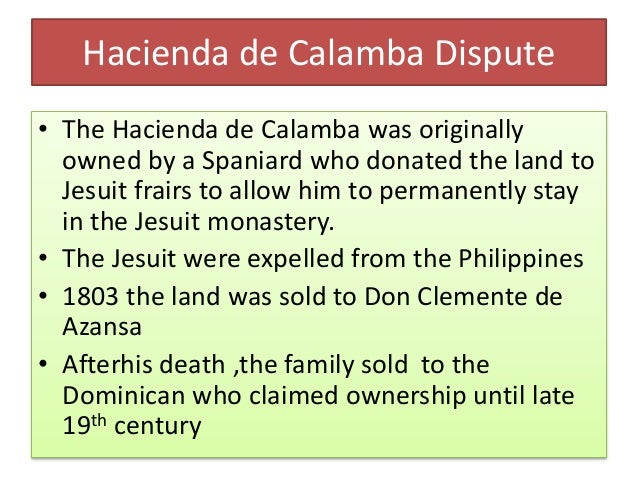 • Mercado family became one of the principal inquilinos of the hacienda for 380 hectares • However when conflicts on land ...