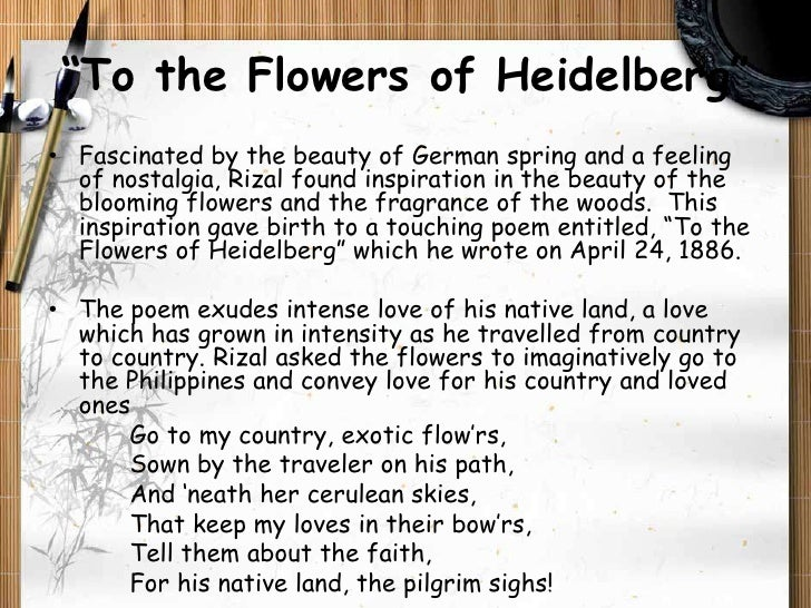 to the flowers of heidelberg by Germany: heidelberg, jose rizal, and a las flores de heidelberg cecilia within the castle of heidelberg grounds i visited heidelberg, germany on october 18, 2014 to the flowers of heidelberg by dr jose rizal.