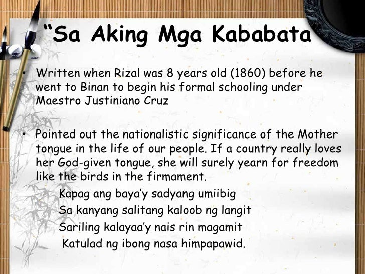 10 interpretation of jose rizal's poem Rizal's poems last poem of rizal (mi ultimo adios) [ tagalog | english ] to the  philippines  a poem that has no title [ english ] song of maria clara.